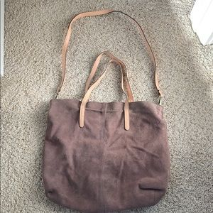 Reversible Suede/Linen Free People Hobo Bag